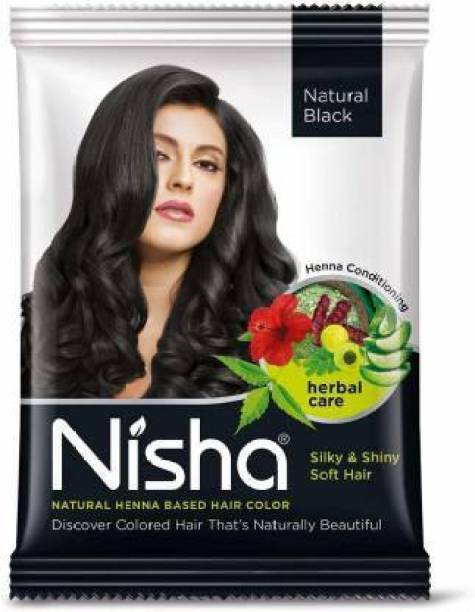 Nisha Hair Color Henna Based Hair Powder Dye For Hair Coloring Natural Black 25gm each pack (Pack of 10)