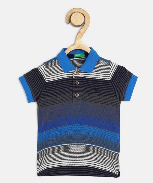 United Colors of Benetton Boys Striped Cotton Blend T Shirt