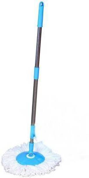 Qtsy Spin 360 Degree Mop Full Stick Head Stainless Steel Rod with 1 Refill Mop Rod Mop Head and Rod