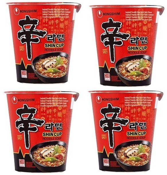 Nongshim Shin Ramyun Cup Noodles 68gm (Pack of 4) (Imported) Cup Noodles Non-vegetarian