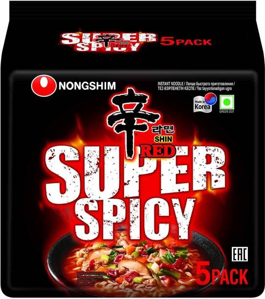 Nongshim Red Super Spicy Instant Noodles 600gm(120gm*5) (Imported) Instant Noodles Vegetarian