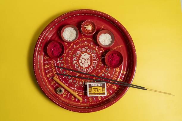 Aurum Decorative fancy Pooja Thali Stainless Steel