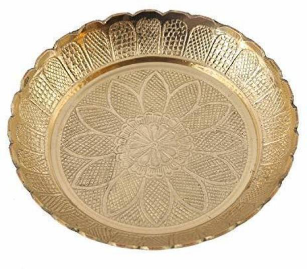 Skywalk Handmade Brass Puja Thali with Flower Emossed Design,Brass Pooja Plate for Home & Office Decoration & Gifting Brass