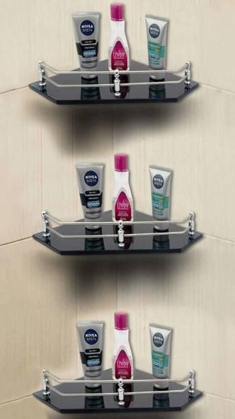 USF Glass Corner/Bathroom/Kitchen Shelf -9 X 9 Inches -Black -Diamond-Wall Mount (Transparent) Pack of 3 Glass, Stainless Steel Wall Shelf