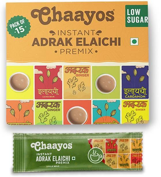 Chaayos Low Sugar Adrak Elaichi (Ginger, Cardamom) Flavour Instant Tea Premix (15 Sachets) Instant Tea Box