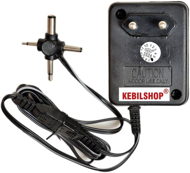 Kebilshop 3 Volt 500mA Power Adapter with 4 Multi Pin and Polarity Change Option for Radios,Torches,Toys,Trimmer,All purpose Use,for Electronics Items. Worldwide Adaptor