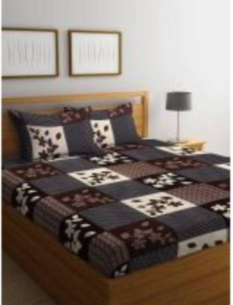 RISING STAR 144 TC Microfiber Double Floral Bedsheet