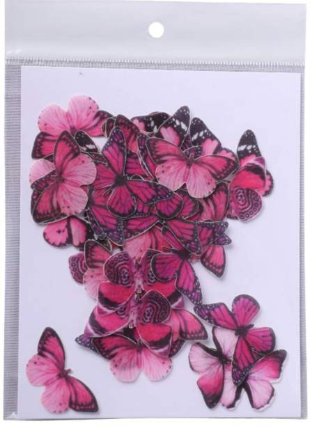 TastyCrafts Pre-Cut Wafer Paper | Edible | Stick-on Cake décor | Pink Butterfly | Small - 40 Pcs Topper