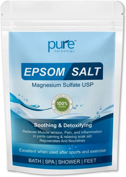 Pure Herbology Epsom Salt (Magnesium Sulphate) For Bathing, Relaxing Foot and Pain Relief Therapeutic Spa Treatment & Refreshing Body (1kg, Pack of 2)