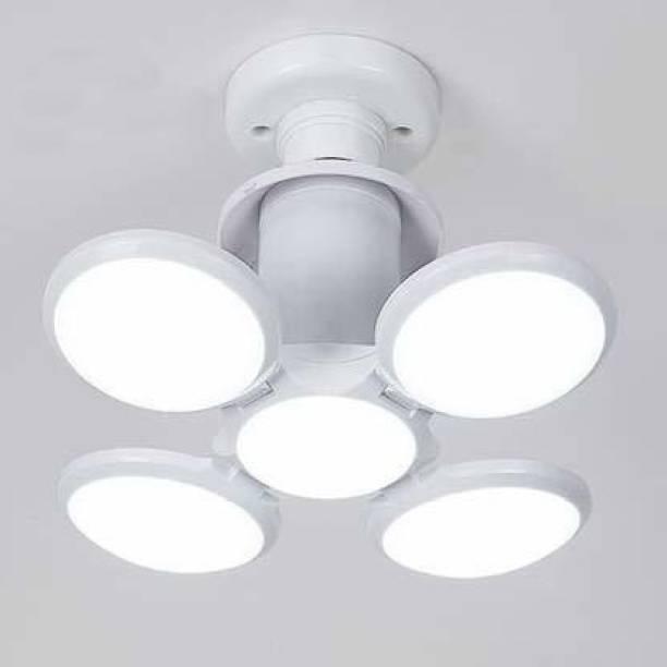 Divine Plum Flower Lamp B22 Foldable Light, 60W 4-Leaf Fan Blade LED Light Bulb, Super Bright Angle Adjustable Home Ceiling Lights, AC95-265V, Cool White Light Pendants Ceiling Lamp