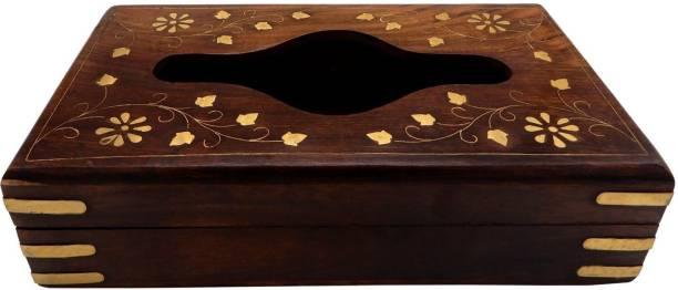 WoodCart 1 Compartments Handmade Wooden Tissue Box Napkin Holder Cover with Brass Inlay & Velvet Interior 9 Inch Full Brass Tissue Box
