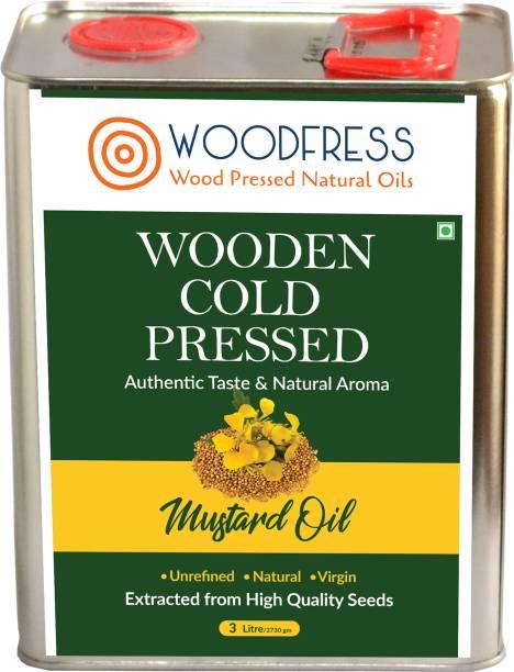 WOODFRESS Wooden Cold Pressed Mustard Oil 3L (Sarson ka Tel / Wood Pressed / Lakdi Ghani) Mustard Oil Tin