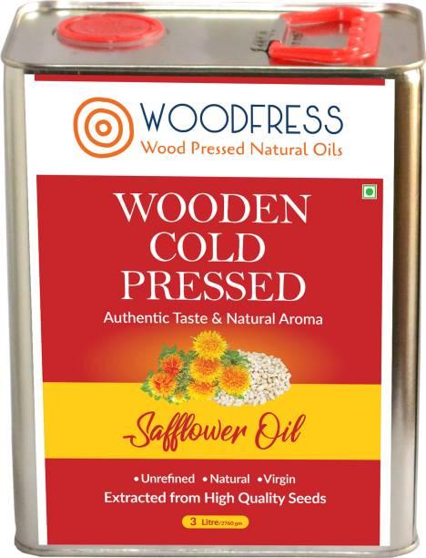 WOODFRESS Wooden Cold Pressed Safflower Oil 3L - Kardai, Kardi, Kusum ka Tel (Wood Pressed / Lakdi Ghani / Marachekku) Safflower Oil Tin