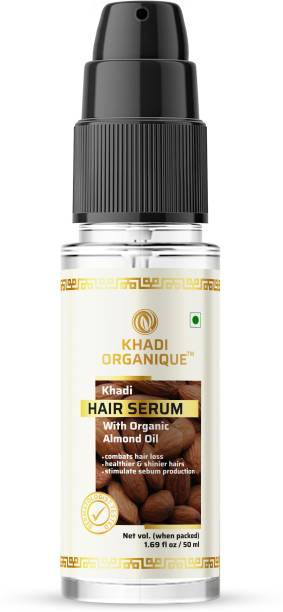 khadi ORGANIQUE Hair Serum enrich with Almond Oil Combats hair loss, stimulate sebum production, healthier and shinier hairs, remove roughness and frizz
