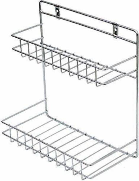 NAMANSHU TEX Wall Mountable Detergent Holder / Bathroom Rack / Multipurpose Stand Kitchen Rack Stainless Steel Wall Shelf (Number of Shelves - 2, Silver) Steel Wall Shelf (Number of Shelves - 2, Silver) silver Towel Holder