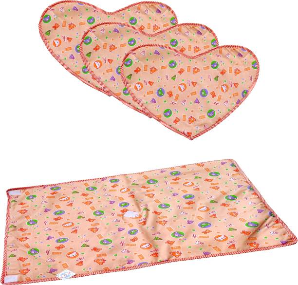 V.B.K Baby Bed Urine Protector Sheets, One Main Whole Sheet + 3 Heart Shape Urine Area Changing Sheet With Velcro, Washable