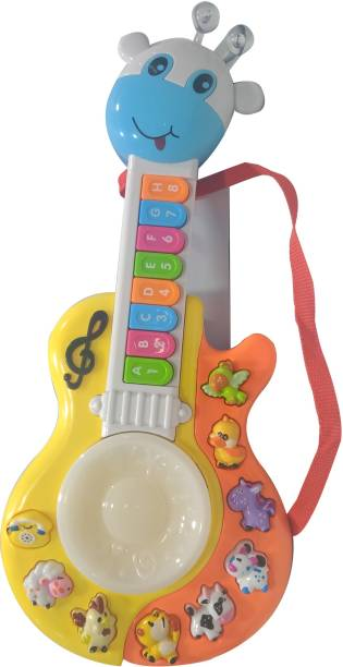 Toy Shack Girraffe Guitar Musical Piano With Music, Animal sounds and Flashing Lights Toy for Kids
