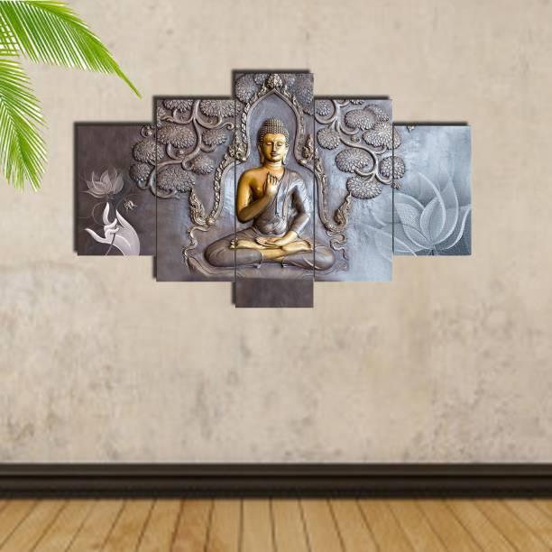 Craft Junction Lord Buddha Art Print Design Set of 5 6 MM MDF Self Adhesive Panel Digital Reprint 17 inch x 30 inch Painting