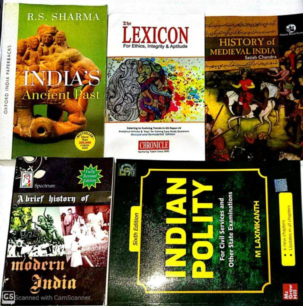 TOP SELLING COMBO BOOKS FOR UPSC And All Competative Exams Set Of 5 (Laxmikant-Ploity,Satish Chandra-Medieval,Rs Sharma-Ancient,Rajiv Ahir-Spectrum History,Lexicon-Ethics)