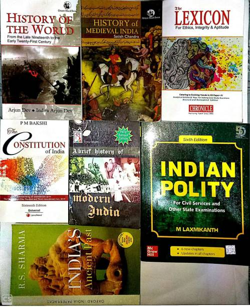 TOP SELLING COMBO BOOKS FOR UPSC And All Competative Exams Set Of 7 (Laxmikant-Ploity,Satish Chandra-Medieval,Rs Sharma-Ancient,Rajiv Ahir-History Of Modern India,Lexicon-Ethics,Arjun Dev-World History,PM Bakshi-Constitution)