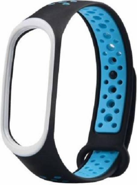 Pocket Whole SOFT SILICON STRAP BAND BLUE DOTTED BLACK Smart Band Strap (Blue, Black) Smart Band Strap