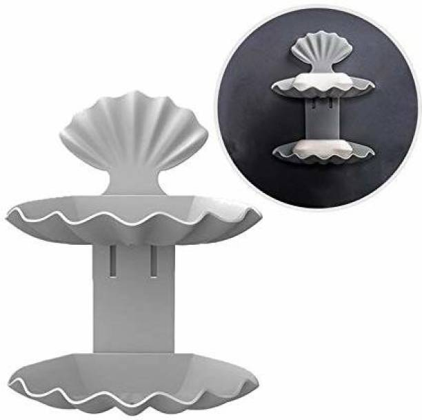 FABB UZANIYA Shell Shape Double Layer Bathroom shelve Super Adhesive Sticker Soap Dish Holder Wall Mounted Bathroom Shower Soap Holderor soap case or soap tray (Grey)