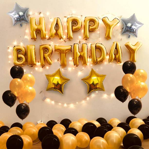 Tim Fashion Birthday Decoration Items Kit- 35Pcs for Happy Bday Decorative Combo Set for Kids, Husband, Wife, Girls, Boys with Golden Black Helium Alphabet Foil Balloons,Metallic Baloon,Star Ballon Banner