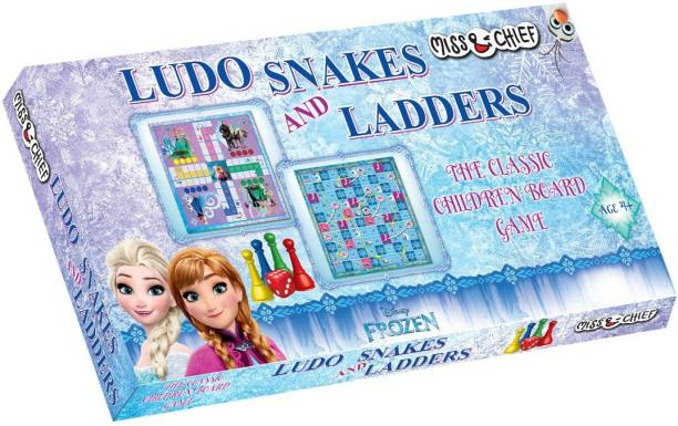 Miss & Chief Frozen Ludo + Snake & Ladder Party & Fun Games Board Game