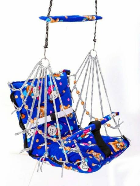 VVJ ENTERPRISE New Cotton Baby Swing for Kids Baby's Children Folding and Washable 1-3 Years with Safety Belt Home Garden Jhula for Babies for Indoor Outdoor Swings Bouncer