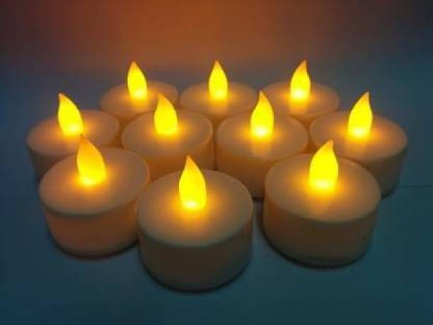 azmon Pack of 10, Bright led tea light candle for decoration and diwali Candle (Yellow, Pack of 10) Candle