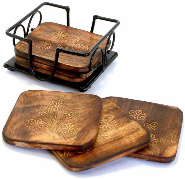 Modern Shoppee Square Wood Coaster Set
