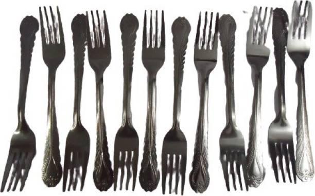 amega star Stainless Steel 12 Pieces Dinner Fork Set for Home/Kitchen Steel Roast Fork, Baby Fork, Dessert Fork, Salad Fork, Dinner Fork, Serving Fork, Fruit Fork Set