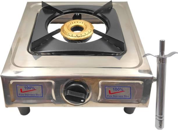 Always4U Single Burner Stainless Steel Manual Gas Stove With Gas Lighter Stainless Steel Manual Gas Stove