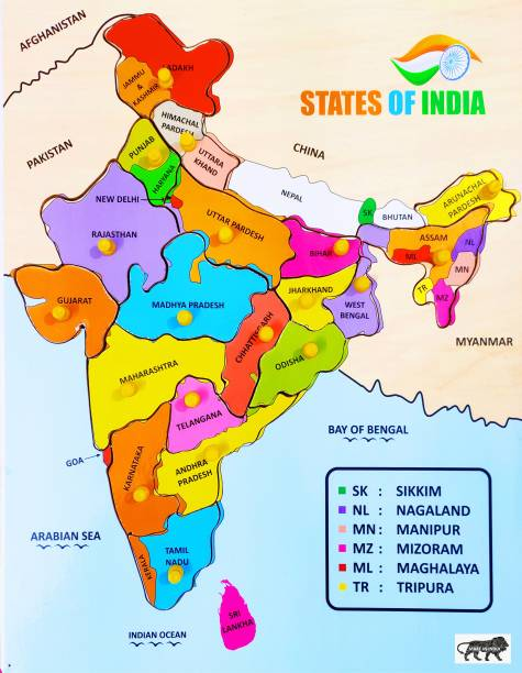 poksi Map of India wooden puzzle board for kids