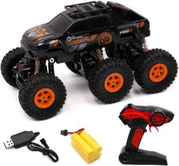 Neel 2.4 GHz R/C 1:18 Scale 6 Wheels Rock Crawler Xtreme Off Road Remote Control Rechargeable Car | 4X4 | Strength Shocks (Black)