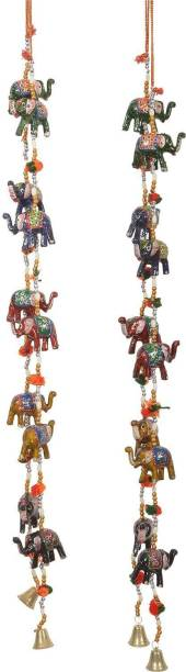 CRAFTOHOLICS Rajasthani Elephant Line Wall/Door Hanging Items Toran/Latkan Set of 2 Pcs Decorative Showpiece Toran