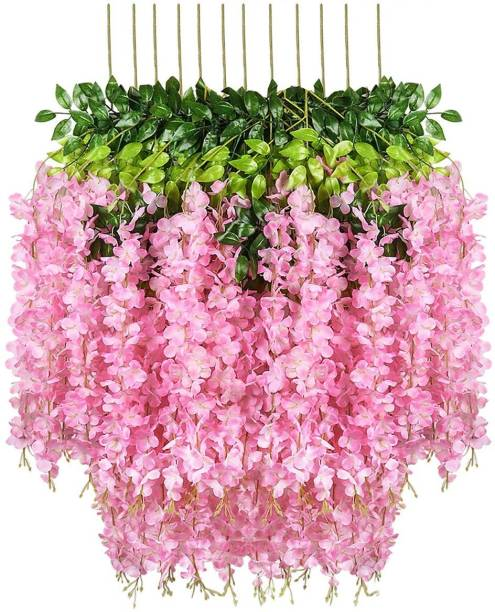 FOURWALLS Artificial Polyester and Plastic Hanging Orchid Flower Vine Multicolor Orchids Artificial Flower
