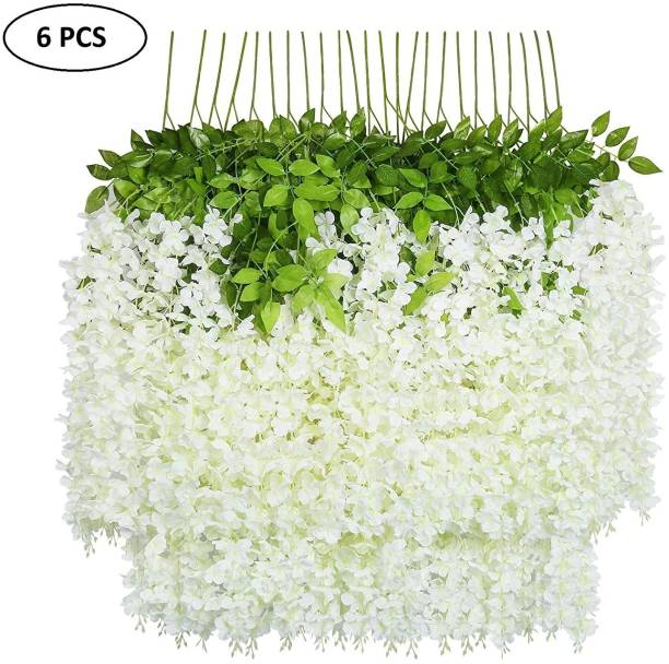 FOURWALLS Artificial Polyester and Plastic Hanging Orchid Flower Vine White Orchids Artificial Flower