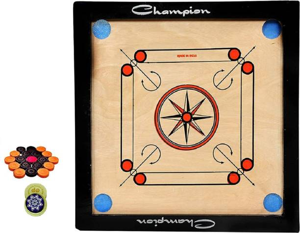 Craftnation 20 x 20 Inches Size Carrom Board with Free Coins, Striker High Finish Carrom Board Board Game