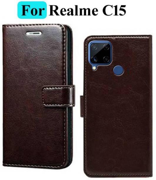 Mashgul Flip Cover for Realme C15, Realme C15 Qualcomm Edition
