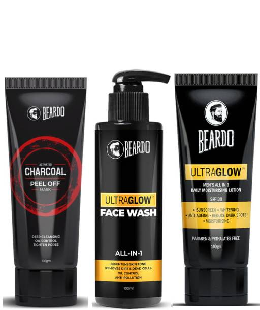 BEARDO Activated Charcoal Peel off Mask with Ultraglow Facewash and Lotion Combo