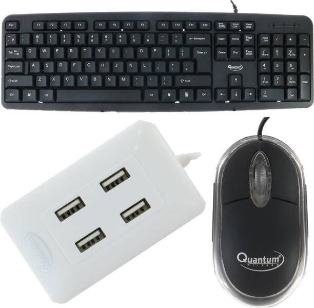 Quantum Hi-Tech QHM 7403 WIRED KEYBOARD, QHM 222 WIRED MOUSE AND QHM 6633 (WHITE) 4 PORT USB HUB (COMBO) Combo Set