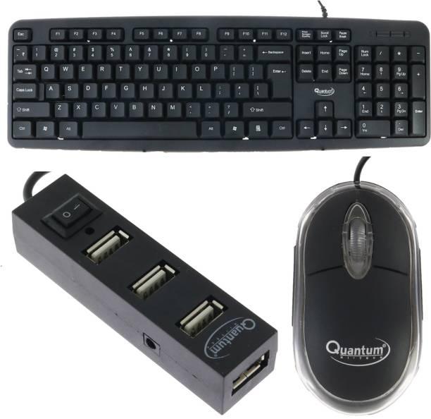 Quantum Hi-Tech QHM 7403 WIRED KEYBOARD, QHM 222 WIRED MOUSE AND QHM 6660 (BLACK) 4 PORT USB HUB - (COMBO) Combo Set