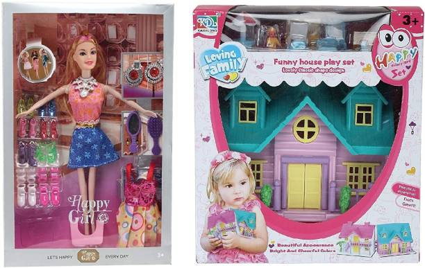 CADDLE & TOES Doll House for Girls / Doll Set with Pink Slippers Doll , 10 Sets of Fashion Accessories, Dress,earings + a Doll House Set For Kids