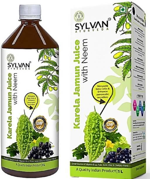 SYLVAN AYURVEDA SYLVAN Karela Jamun Juice with Neem -1L | Desi Karela and Jamun Juice enriched with Rajasthani Neem | Low Glycemic Index | No Added Sugar I Premium Quality I