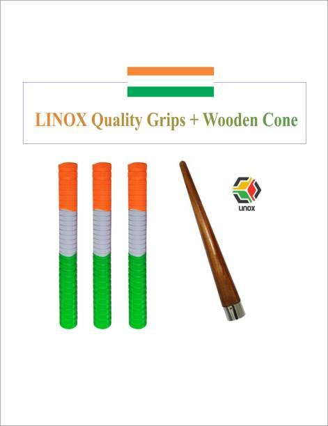 LINOX TRI color cricket bat handle grip with cone Dry Feel