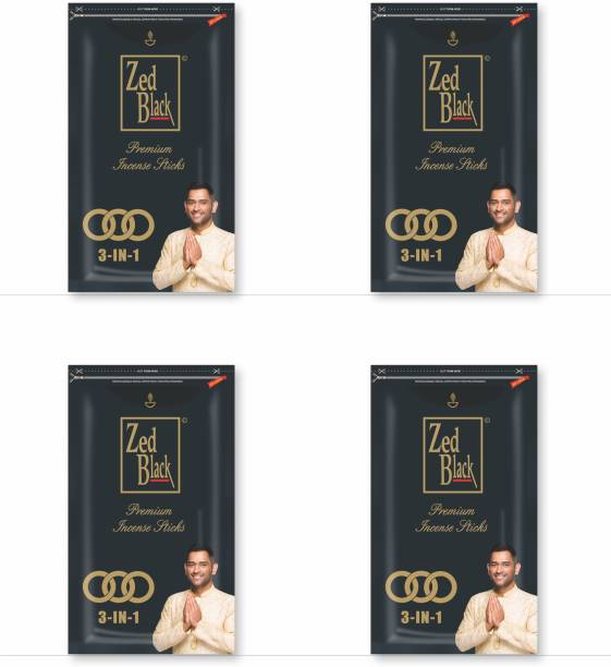 Zed Black 3 In 1 Premium incense Sticks - Natural fragrance sticks for Refreshing and Alluring Environment - Pack of 4 Refreshing