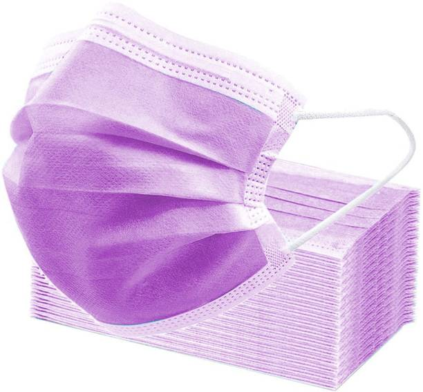 3W 4 Layer Non Woven Disposable Mask with 4 Layer protection and with Comfortable Earloop and NosePin (Pack of 50) (Purple) Surgical Mask