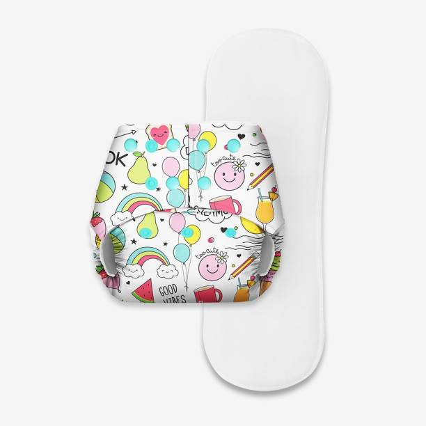 Superbottoms Basic Certified Soft Fleece Lined Pocket Cloth Diaper with 1 Wet-Free Insert (FreeSize Reusable & Adjustable Cloth Diaper,Fits from 5-17 kg, Doodle)