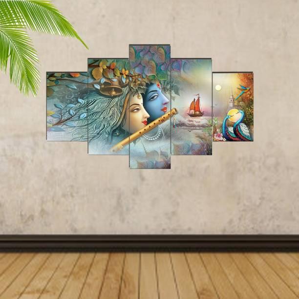 Craft Junction Radha Krishna Art Print Design Set of 5 6 MM MDF Self Adhesive Panel Digital Reprint 17 inch x 30 inch Painting